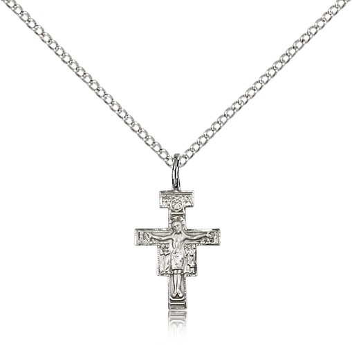 Women's Small San Damiano Crucifix Pendant - Sterling Silver