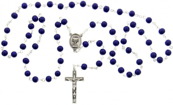 First Communion Blue Glass Rosary with Chalice Centerpiece - Blue | Silver