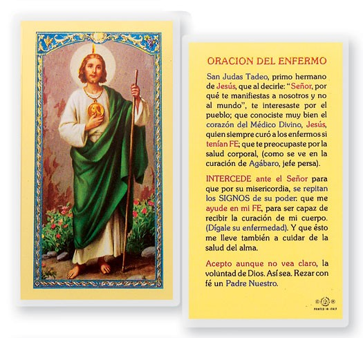 San Judas Oracion Del Enfermo Laminated Spanish Prayer Cards 25 Pack - Full Color
