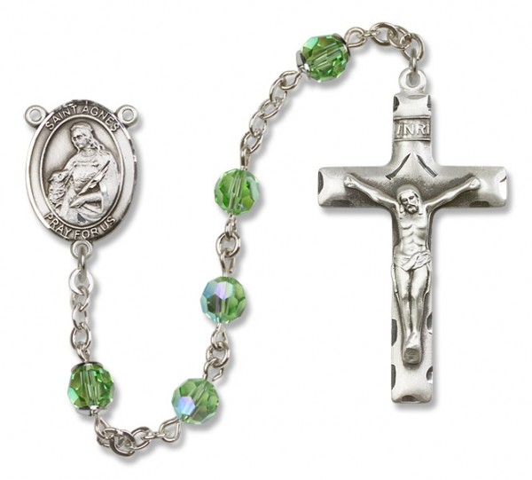 St. Agnes of Rome Rosary Heirloom Squared Crucifix - Peridot
