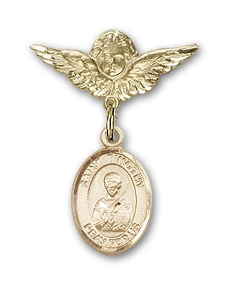 Pin Badge with St. Timothy Charm and Angel with Smaller Wings Badge Pin - 14K Yellow Gold