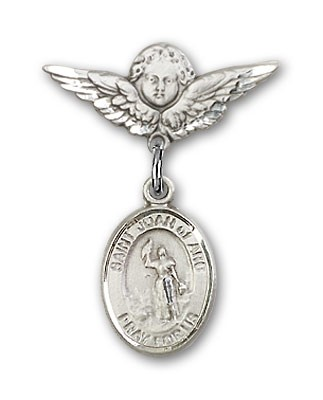 Pin Badge with St. Joan of Arc Charm and Angel with Smaller Wings Badge Pin - Silver tone