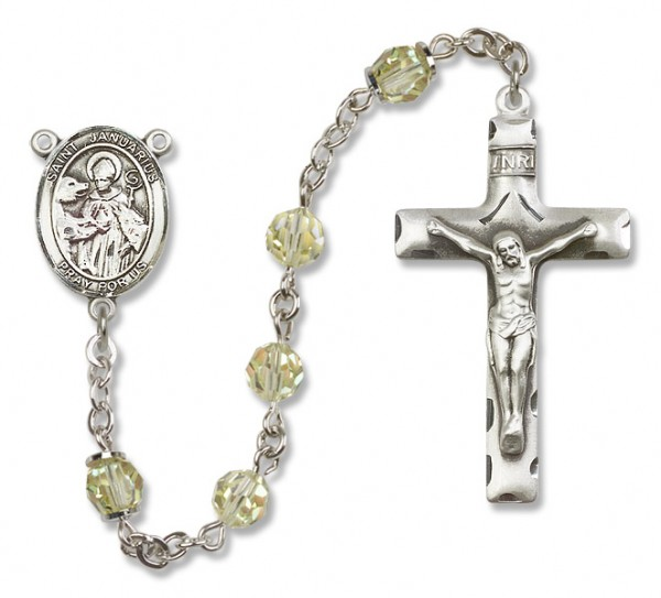St. Januarius Sterling Silver Heirloom Rosary Squared Crucifix - Jonquil