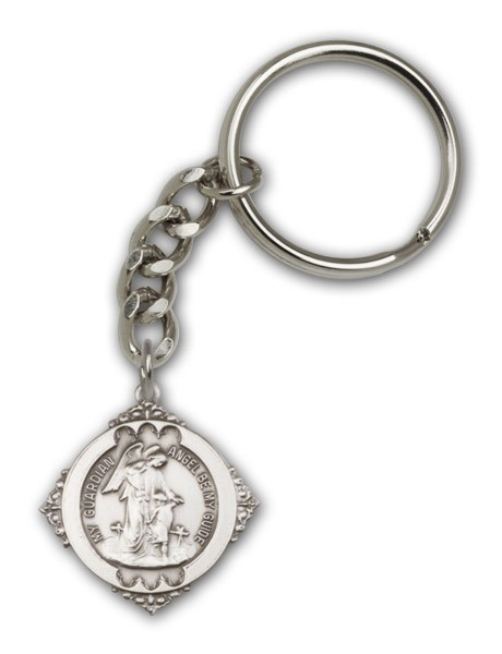 Guardian Angel Keychain - Antique Silver