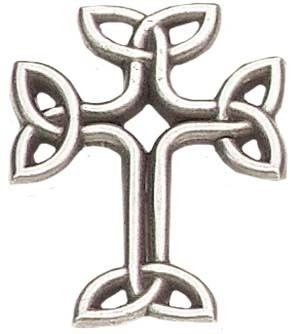"Celtic Knot Cross Lapel Pin - 1"" H - Antique Silver"