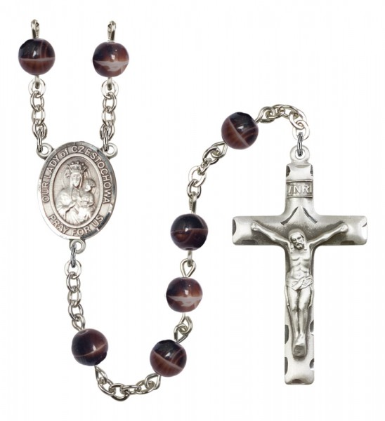 Men's Our Lady of Czestochowa Silver Plated Rosary - Brown