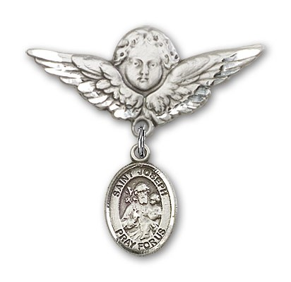 Pin Badge with St. Joseph Charm and Angel with Larger Wings Badge Pin - Silver tone