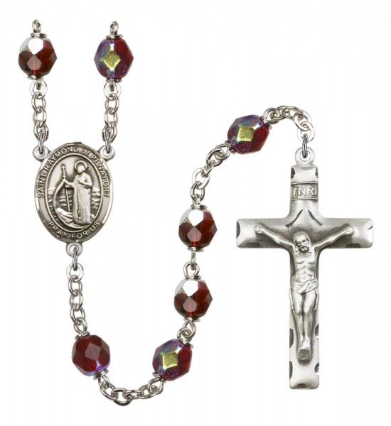 Men's St. Raymond of Penafort Silver Plated Rosary - Garnet