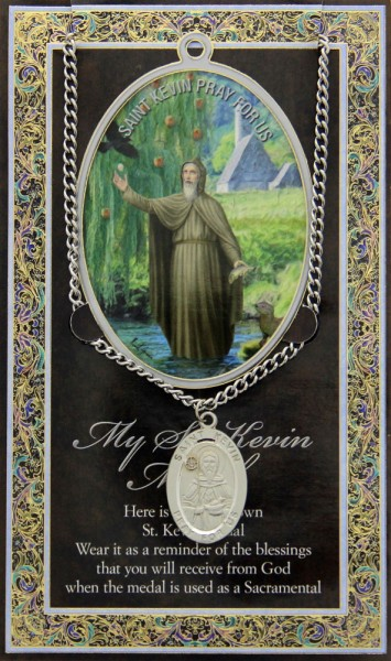 St. Kevin Medal in Pewter with BiFold Prayer Card - Silver tone