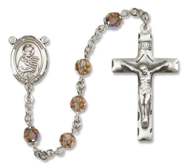 St. Christian Demosthenes Sterling Silver Heirloom Rosary Squared Crucifix - Topaz