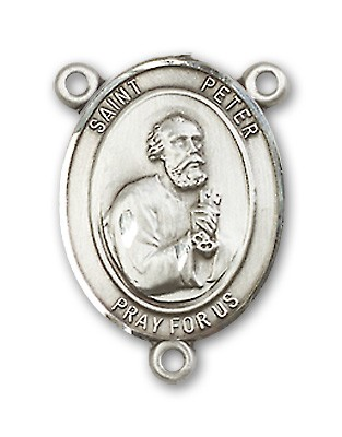 St. Peter the Apostle Rosary Centerpiece Sterling Silver or Pewter - Sterling Silver