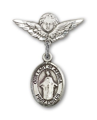 Pin Badge with Our Lady of Africa Charm and Angel with Smaller Wings Badge Pin - Silver tone