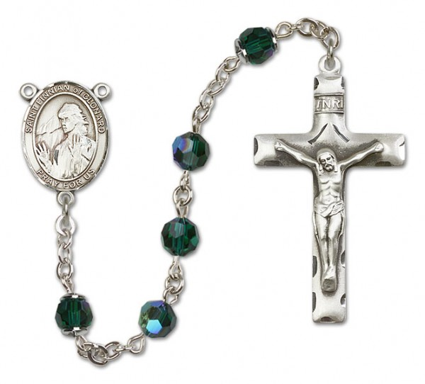 St. Finnian of Clonard Sterling Silver Heirloom Rosary Squared Crucifix - Emerald Green