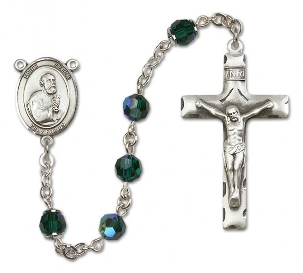St. Peter the Apostle Sterling Silver Heirloom Rosary Squared Crucifix - Emerald Green