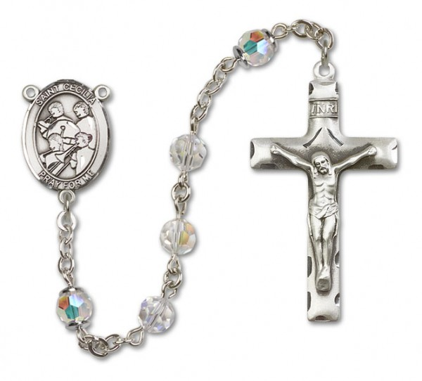 St. Cecilia with Marching Band Sterling Silver Heirloom Rosary Squared Crucifix - Crystal