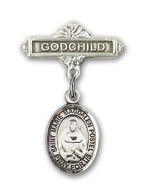 Baby Badge with Marie Magdalen Postel Charm and Godchild Badge Pin - Silver tone