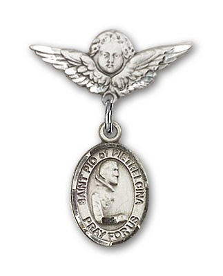 Pin Badge with St. Pio of Pietrelcina Charm and Angel with Smaller Wings Badge Pin - Silver tone
