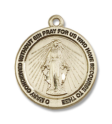 Women's Simple Round Miraculous Medal - 14KT Gold Filled