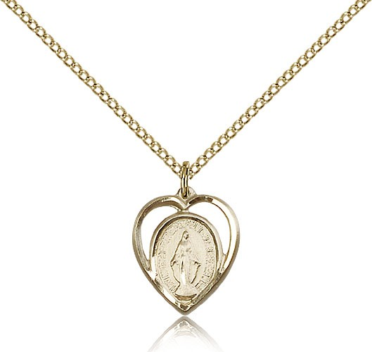 Heart Shaped Miraculous Pendant - 14KT Gold Filled