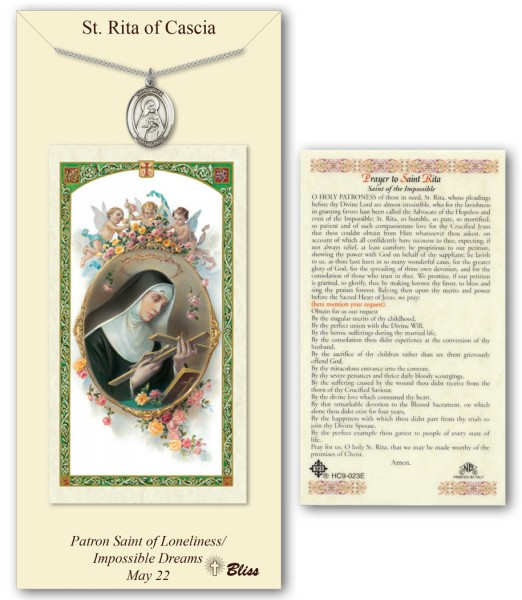 St. Rita of Cascia Medal in Pewter with Prayer Card - Silver tone