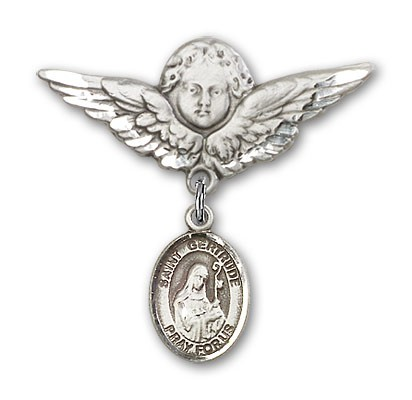 Pin Badge with St. Gertrude of Nivelles Charm and Angel with Larger Wings Badge Pin - Silver tone