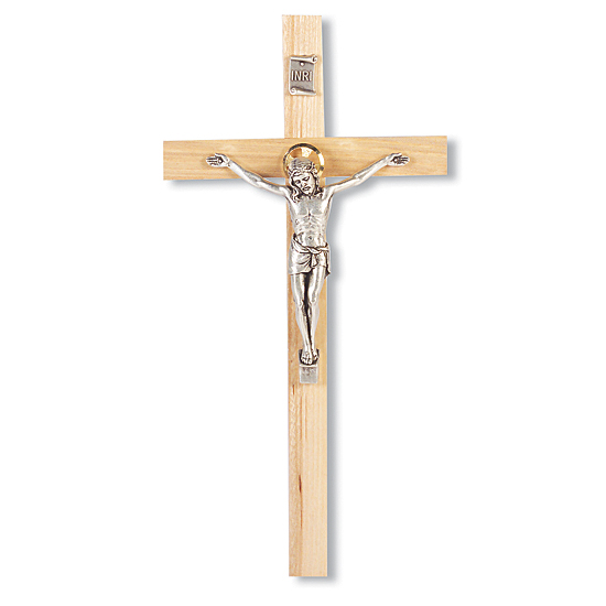 Light Oak Wood Wall Crucifix - 9 inch - Brown