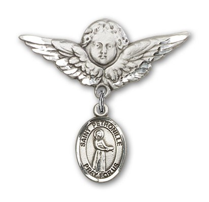 Pin Badge with St. Petronille Charm and Angel with Larger Wings Badge Pin - Silver tone