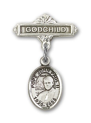 Baby Badge with Pope John Paul II Charm and Godchild Badge Pin - Silver tone