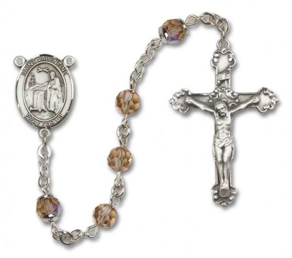 St. Valentine of Rome Rosary Heirloom Fancy Crucifix - Topaz