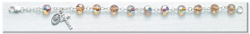 Rosary Bracelet - Sterling Silver with 7mm Colorado Topaz Swarovski Beads - Topaz