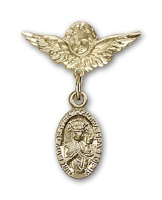 Pin Badge with Our Lady of Czestochowa Charm and Angel with Smaller Wings Badge Pin - Gold Tone