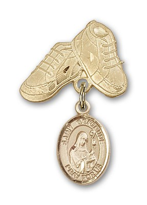 Pin Badge with St. Gertrude of Nivelles Charm and Baby Boots Pin - Gold Tone