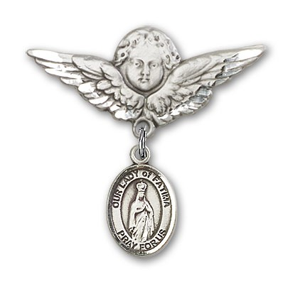 Pin Badge with Our Lady of Fatima Charm and Angel with Larger Wings Badge Pin - Silver tone