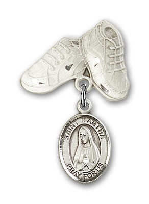 Pin Badge with St. Martha Charm and Baby Boots Pin - Silver tone