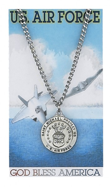 Round St. Michael Air Force Medal with Prayer Card - Silver tone
