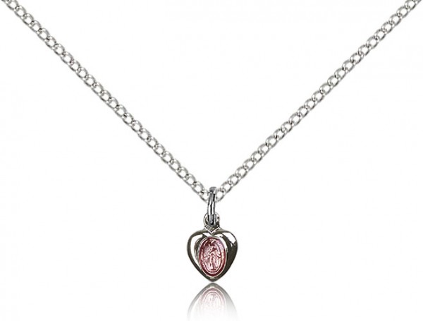 Infant Size Enamel Center Miraculous Heart Medal - Pink | Silver