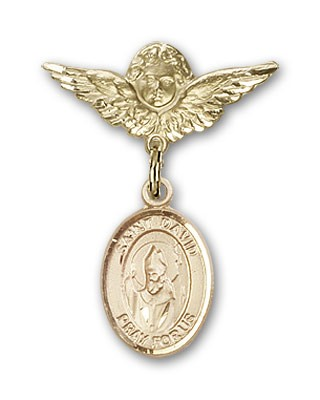 Pin Badge with St. David of Wales Charm and Angel with Smaller Wings Badge Pin - 14K Yellow Gold