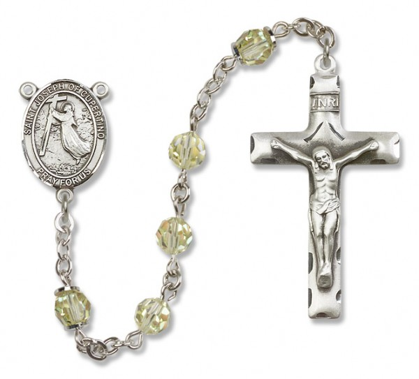 St. Joseph of Cupertino Sterling Silver Heirloom Rosary Squared Crucifix - Jonquil