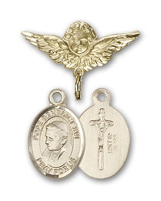Pin Badge with Pope Benedict XVI Charm and Angel with Smaller Wings Badge Pin - Gold Tone