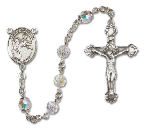 St. Nimatullah Sterling Silver Heirloom Rosary Fancy Crucifix - Crystal