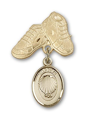 Baby Pin with Baptism Charm and Baby Boots Pin - 14K Yellow Gold