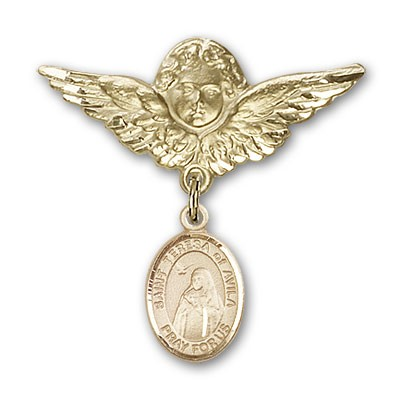 Pin Badge with St. Teresa of Avila Charm and Angel with Larger Wings Badge Pin - 14K Solid Gold