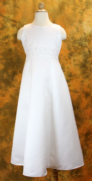 First Communion Dress with Corded & Beaded Laced Waistband - White