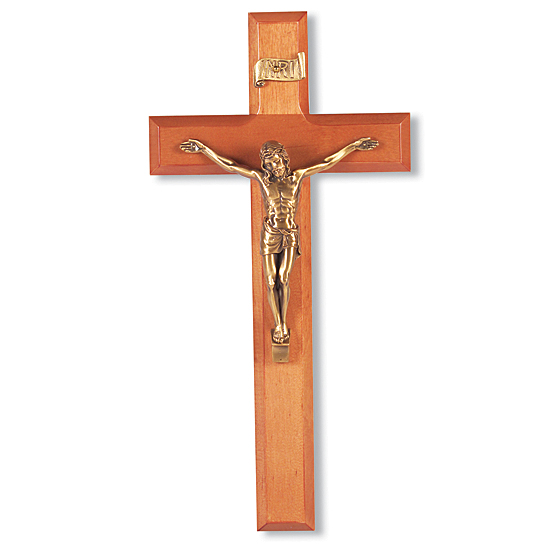 Natural Cherry Wall Crucifix with Salerni Corpus - 11 inch - Brown