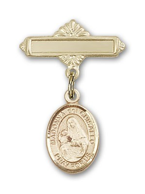 Pin Badge with St. Madonna Del Ghisallo Charm and Polished Engravable Badge Pin - Gold Tone