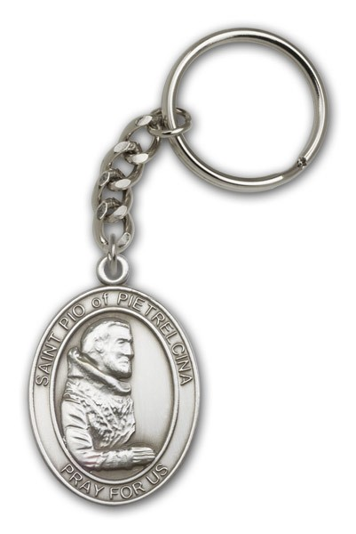 St. Pio of Pietrelcina Keychain - Antique Silver