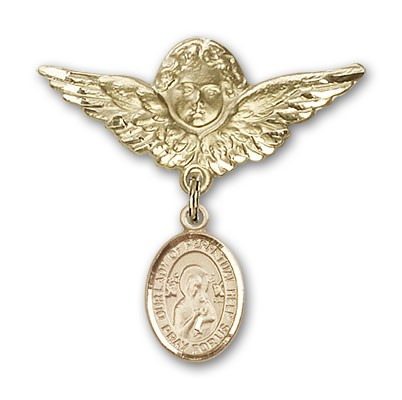 Pin Badge with Our Lady of Perpetual Help Charm and Angel with Larger Wings Badge Pin - 14K Yellow Gold