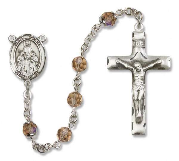 St. Sophia Sterling Silver Heirloom Rosary Squared Crucifix - Topaz