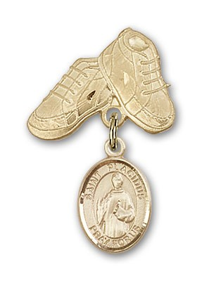 Pin Badge with St. Placidus Charm and Baby Boots Pin - Gold Tone