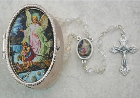 Guardian Angel Crystal Rosary with Oval Box - Silver - Crystal